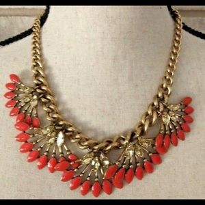 Stella & Dot Orange Flower Necklace